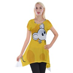 Rat Mouse Cheese Animal Mammal Short Sleeve Side Drop Tunic