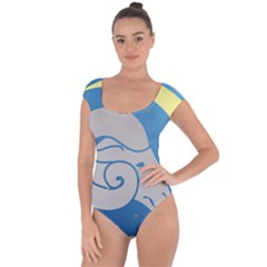Ram Zodiac Sign Zodiac Moon Star Short Sleeve Leotard