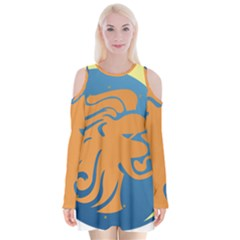 Lion Zodiac Sign Zodiac Moon Star Velvet Long Sleeve Shoulder Cutout Dress