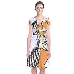 Zebra Animal Alphabet Z Wild Short Sleeve Front Wrap Dress