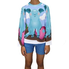 Pig Animal Love Kids  Long Sleeve Swimwear