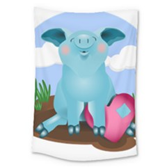 Pig Animal Love Large Tapestry by Nexatart