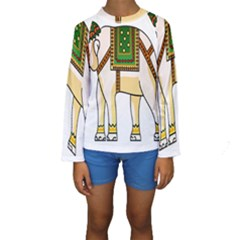 Elephant Indian Animal Design Kids  Long Sleeve Swimwear
