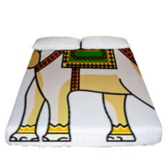 Elephant Indian Animal Design Fitted Sheet (queen Size)
