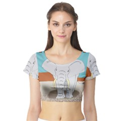 Africa Elephant Animals Animal Short Sleeve Crop Top (tight Fit)