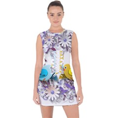 Flowers Floral Flowery Spring Lace Up Front Bodycon Dress