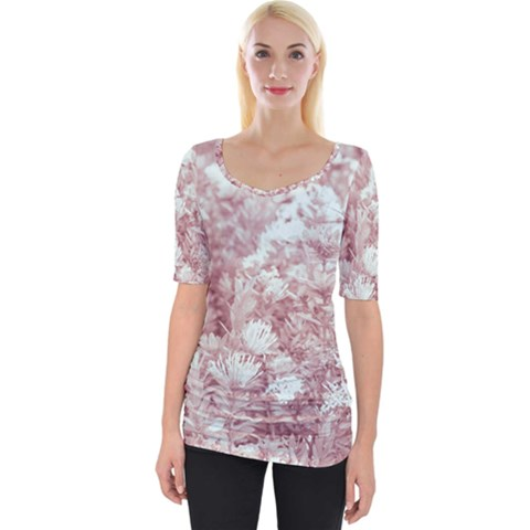 Pink Colored Flowers Wide Neckline Tee by dflcprints