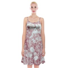 Pink Colored Flowers Spaghetti Strap Velvet Dress by dflcprints