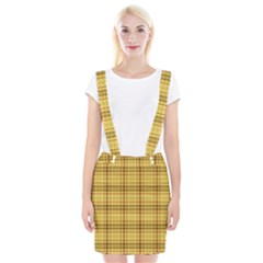 Plaid Yellow Fabric Texture Pattern Braces Suspender Skirt