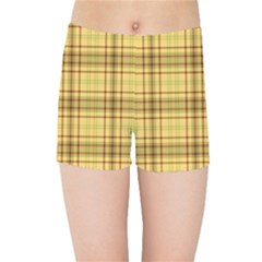 Plaid Yellow Fabric Texture Pattern Kids Sports Shorts by paulaoliveiradesign