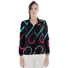 Heart Drawing Pattern Multi Colored  Wind Breaker (women)