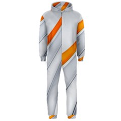Abstraction Yellow White Line  Hooded Jumpsuit (men)