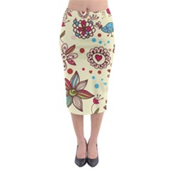 Texture Birds Hearts Background Balls Surface  Midi Pencil Skirt by amphoto