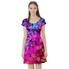 Colorful Community Glare Bright  Short Sleeve Skater Dress