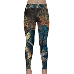 Abstract Pattern Blue And Gold Classic Yoga Leggings by amphoto