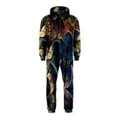 Abstract Pattern Blue And Gold Hooded Jumpsuit (kids) by amphoto