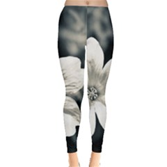 Flower White Black Blue  Leggings  by amphoto