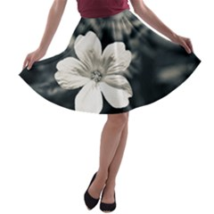 Flower White Black Blue  A Line Skater Skirt by amphoto