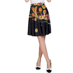 Tree Circle Orange Black  A Line Skirt by amphoto