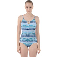 Watercolor Blue Abstract Summer Pattern Cut Out Top Tankini Set by TastefulDesigns