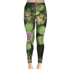 Abstraction Fractal Flowers Greens  Leggings  by amphoto