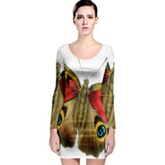 Butterfly Bright Vintage Drawing Long Sleeve Bodycon Dress by Nexatart