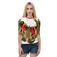 Butterfly Bright Vintage Drawing Quarter Sleeve Raglan Tee by Nexatart