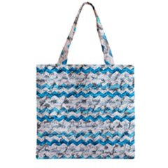 Baby Blue Chevron Grunge Grocery Tote Bag