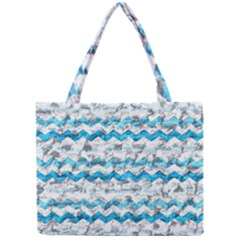 Baby Blue Chevron Grunge Mini Tote Bag