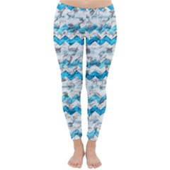 Baby Blue Chevron Grunge Classic Winter Leggings