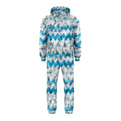 Baby Blue Chevron Grunge Hooded Jumpsuit (kids)