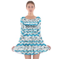Baby Blue Chevron Grunge Long Sleeve Skater Dress