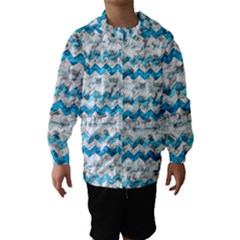 Baby Blue Chevron Grunge Hooded Wind Breaker (kids)