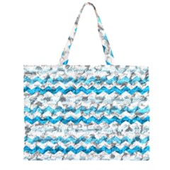 Baby Blue Chevron Grunge Zipper Large Tote Bag by designworld65