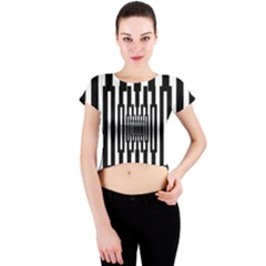 Black Stripes Endless Window Crew Neck Crop Top