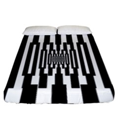 Black Stripes Endless Window Fitted Sheet (king Size) by designworld65
