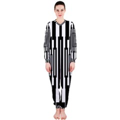 Black Stripes Endless Window Onepiece Jumpsuit (ladies)