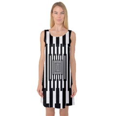 Black Stripes Endless Window Sleeveless Satin Nightdress