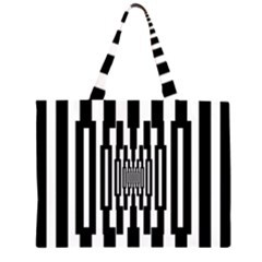 Black Stripes Endless Window Zipper Large Tote Bag by designworld65