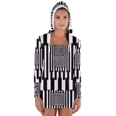 Black Stripes Endless Window Long Sleeve Hooded T Shirt