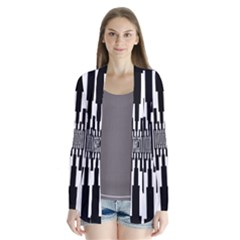 Black Stripes Endless Window Drape Collar Cardigan