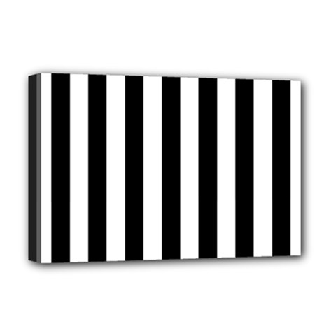 Black And White Stripes Deluxe Canvas 18  X 12   by designworld65