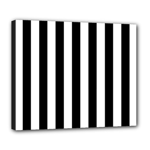 Black And White Stripes Deluxe Canvas 24  X 20   by designworld65