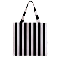 Black And White Stripes Zipper Grocery Tote Bag by designworld65
