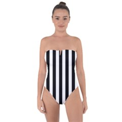 Black And White Stripes Tie Back One Piece Swimsuit