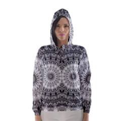 Feeling Softly Black White Mandala Hooded Wind Breaker (women) by designworld65