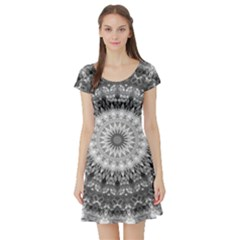 Feeling Softly Black White Mandala Short Sleeve Skater Dress