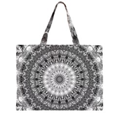 Feeling Softly Black White Mandala Zipper Large Tote Bag by designworld65