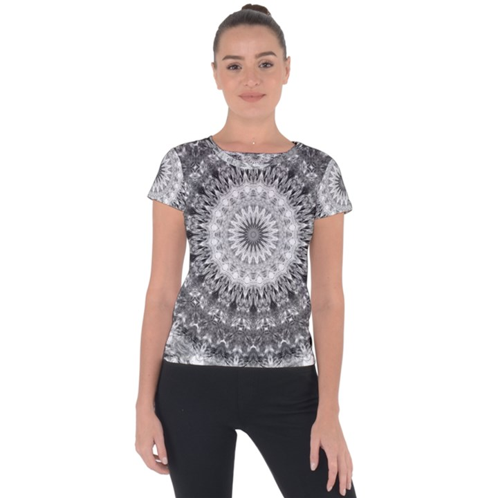 Feeling Softly Black White Mandala Short Sleeve Sports Top
