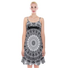 Feeling Softly Black White Mandala Spaghetti Strap Velvet Dress by designworld65